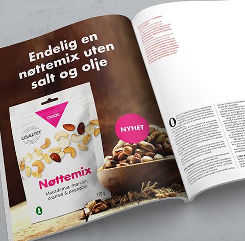 Magasin med eksempel på annonse for Tradesolution nøttemiks. Grafikk.