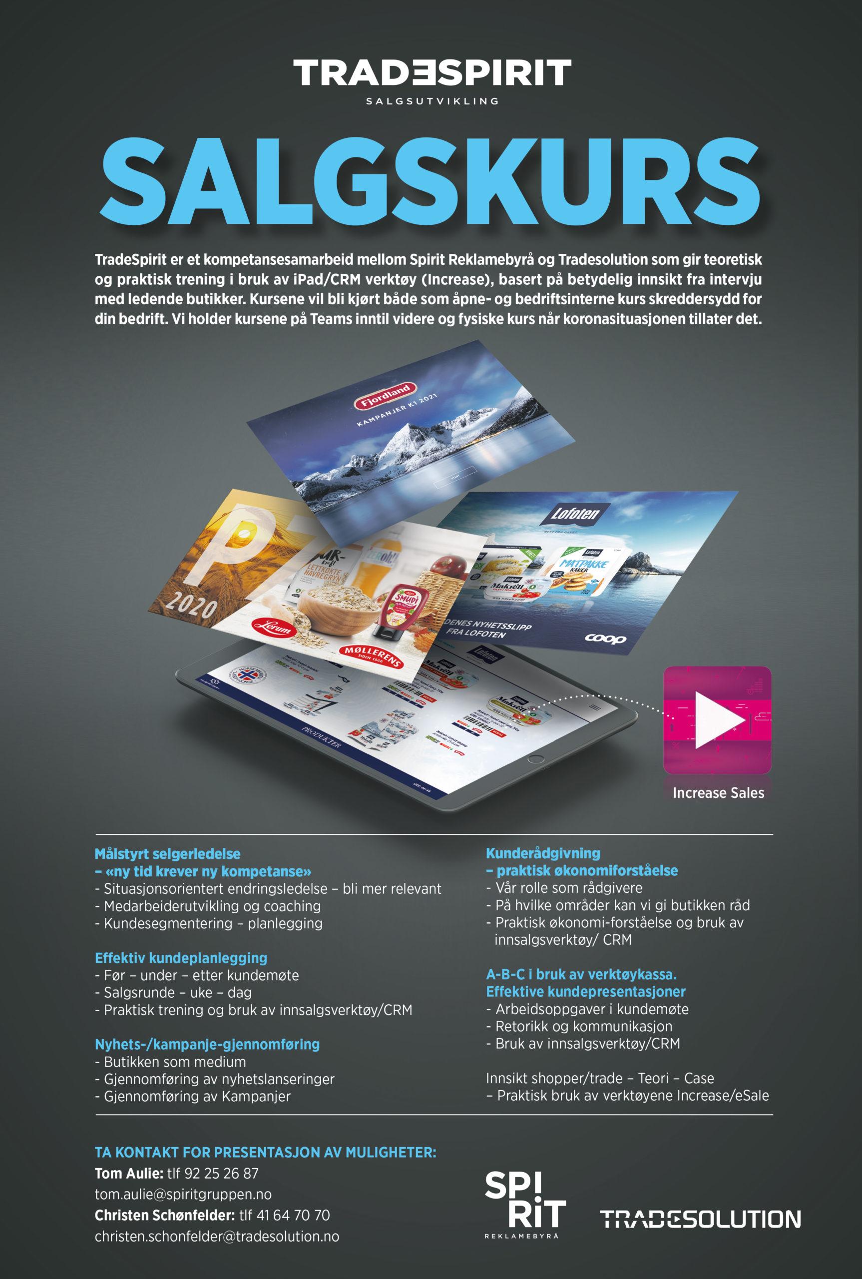 Annonse salgskurs med bilder av nettbrett, skjermbilder og tekst. Grafikk